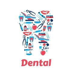 Dentistry symbols in the shape of tooth vector image vector image