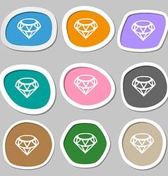 Diamond icon symbols multicolored paper stickers vector