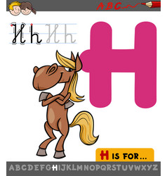 letter h with cartoon horse vector image vector image