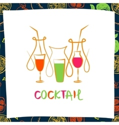 logo for fresh fruit coctail vector image