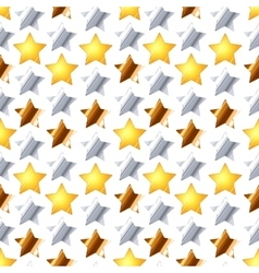 Metalic stars on white seamless pattern vector image