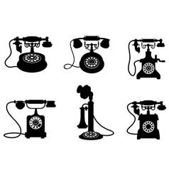 vintage telephones vector image vector image