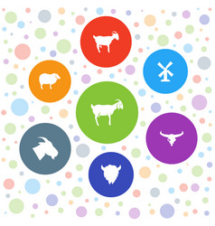7 rural icons vector image