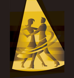 ballroom dancing couple in yellow spot light vector image