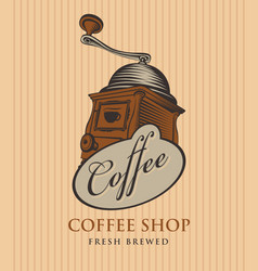 Banner for coffee shop with coffee grinder vector