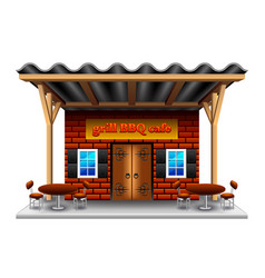 barbeque grill cafe isolated on white vector image