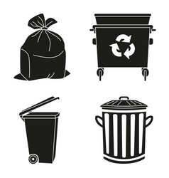 Black and white garbage silhouette collection vector