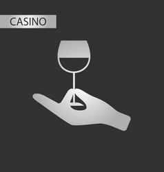 black and white style glass of wine vector image