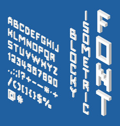 blocky isometric white font vector image