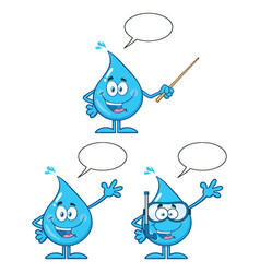 blue water drop characters collection - 5 vector image
