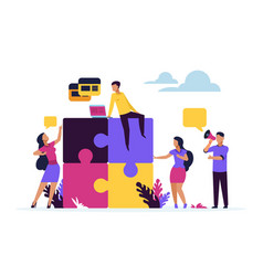 business teamwork concept puzzle elements with vector image