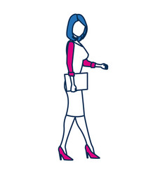 Business woman person in blue and fuchsia vector