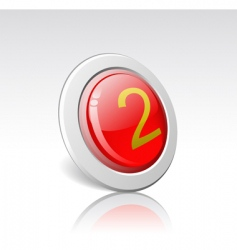 button with the number 2 vector image