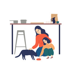 Caring mother and cute daughter feeding cat vector