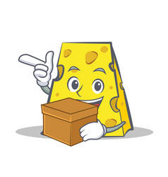 Cheese character cartoon style with box vector