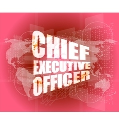 Chief executive officer words on digital screen vector