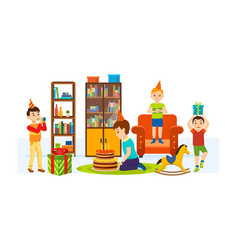 children having fun in room on a holiday evening vector image