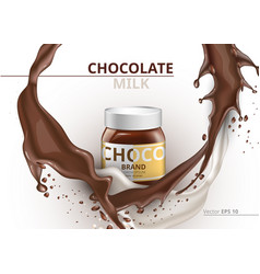 Chocolate bottle package mock up realistic vector