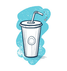 Cold drink in plastic cup hand drawn icon vector