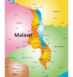 Color map of Malawi country vector