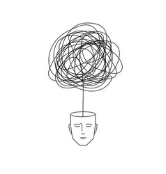 Complicated abstract mind empty head with messy vector
