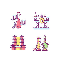 Culture of singapore rgb color icons set vector