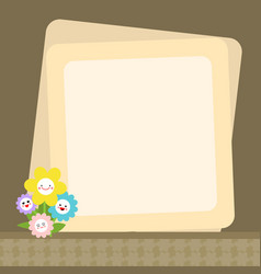 cute smiley flowers with message paper vector image