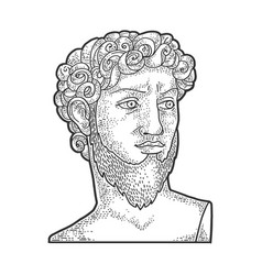 david sculpture with beard sketch vector image