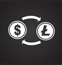 Dollar to lite coin conversion on black background vector