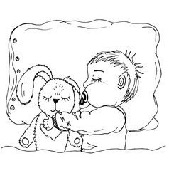 doodle baby sleeping with hare vector image
