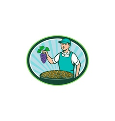Farm Boy Holding Grapes Bowl Raisins Oval Retro vector image