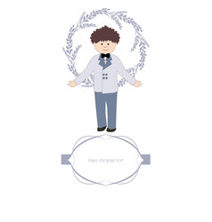 first communion celebration reminder cute boy vector image