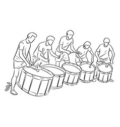 Five teenagers playing marching drum vector