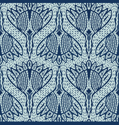 Floral motif sashiko style japanese needlework vector