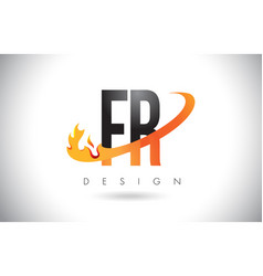 fr f r letter logo with fire flames design and vector image