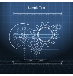 Gears technical drawing vector image