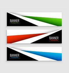 geometric modern web banners set three vector image