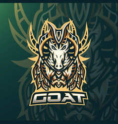 goat esport gaming mascot logo template vector image