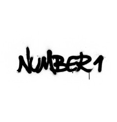 Graffiti number 1 text sprayed in black over white vector