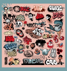 Graffiti street art objects vector