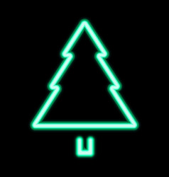 green neon christmas tree pine tree icon vector image