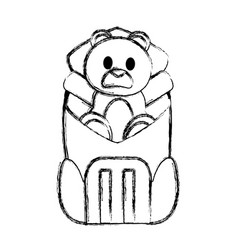 Grunge bear teddy toy inside backpack style vector