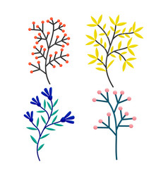 hand drawn tree branches and leaves set vector image