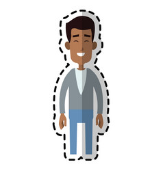 Handsome happy dark skin man cartoon icon image vector