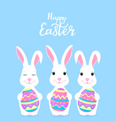 Happy easter funny cartoon rabbit holding in the vector