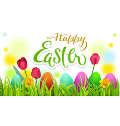 Happy easter text greeting card season spring vector