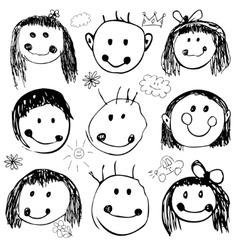 Happy kids set vector image