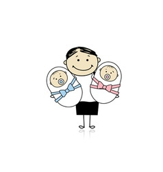 Happy mother with newborn twins vector
