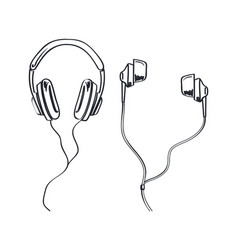 headphones types earphones monochrome sketches vector image