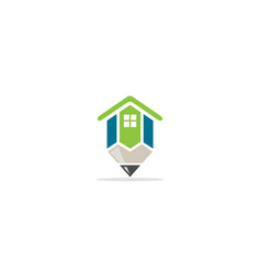 home realty pencil architect logo vector image